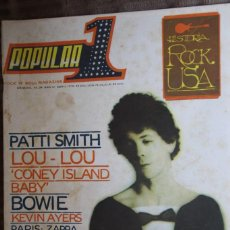 Revistas de música: POPULAR 1 Nº 34. PATTI SMITH, LOU REED, DAVID BOWIE, ZAPPA, THE WHO, ROLLING STONES, KEVIN AYERS. Lote 85868944