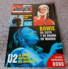 Revistas de música: REVISTA EL GRAN MUSICAL - Nº 282 - 1987 - BOWIE, U2, DUNCAN DHU - GRAN POSTER DE DUNCAN DHU Y O. MON. Lote 95760239