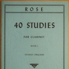 Revistas de música: ROSE: 40 STUDIES FOR CLARINET - BOOK 1 (DRUCKER). Lote 95888095