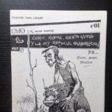 Revistas de música: UMO. EL GATO NEGRO. FANZINE ORIGINAL Nº1 1985. CIBERNAUTAS, ILEGALES, COMIC, MIGUEL A. PRADO. Lote 97677023