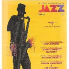 Revistas de música: REVISTA: PROGRAMA. 13 FESTIVAL INTERNACIONAL DE JAZZ. SEVILLA 1992. (P/B20). Lote 101307487