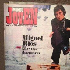 Revistas de música: MUNDO JOVEN 63:POSTER MIGUEL RIOS CON NIÑOS.MICK JAGGER.HOJA PUBLICIDAD CHARTREUSE AMARILLO/VERDE. Lote 196976361