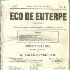 Revistas de música: 363.- ECO DE EUTERPE-PERIODICO DEDICADO A LOS CONCURRENTES A LOS JARDINES - JOSEP ANSELM CLAVE. Lote 106908755