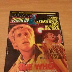 Revistas de música: REVISTA POPULAR 1 NUMERO 113 NOVIEMBRE 82 1982 - THE WHO ERIC BURDON BILLY SQUIER LEÑO. Lote 110062511