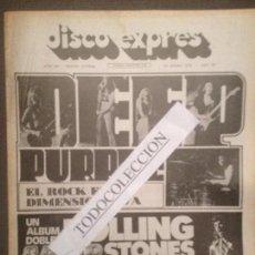 Revistas de música: DISCO EXPRES 208 (26-01-73): DEEP PURPLE, ROLLING STONES, E.PRESLEY.J.MAYALL,BRAVOS,LLACH,CLAPTON. Lote 110962507