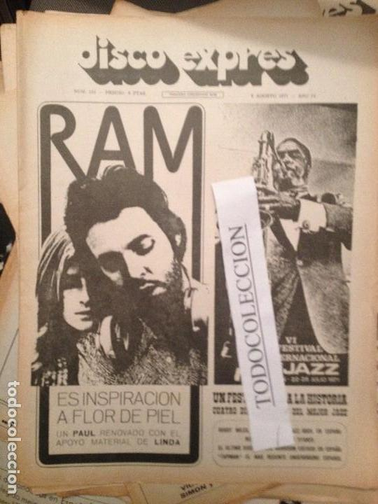DISCO EXPRES 133 (06-08-71): P.MC CARTNEY, TAPIMAN, BREAD,FESTIVAL JAZZ S.SEBASTIAN,TARA,J.MORRISON (Música - Revistas, Manuales y Cursos)