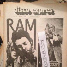 Revistas de música: DISCO EXPRES 133 (06-08-71): P.MC CARTNEY, TAPIMAN, BREAD,FESTIVAL JAZZ S.SEBASTIAN,TARA,J.MORRISON. Lote 111340603
