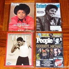 Revistas de música: 4 REVISTAS EXTRANJERAS TRIBUTO MUERTE MICHAEL JACKSON MUERTO CD MUSICA DISCO MJ THRILLER DANGEROUS. Lote 112754555
