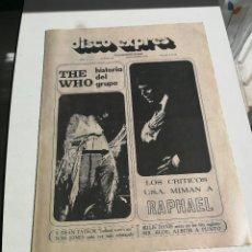 Revistas de música: REVISTA ' DISCO EXPRES ' Nº 98 - NOVIEMBRE 1970 // PORTADA ' THE WHO Y RAPHAEL '. Lote 115130555