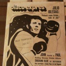 Revistas de música: REVISTA ' DISCO EXPRES ' Nº 63 - MARZO1970 // PORTADA ' JULIO IGLESIAS '. Lote 115410207