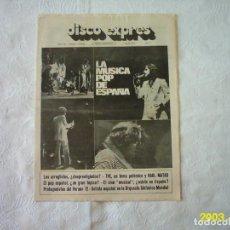 Revistas de música: DISCO EXPRES. Nº 180. 1972. LA MÚSICA POP DE ESPAÑA. SIN POSTER. Lote 117362003