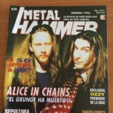 Magazines de musique: METAL HAMMER Nº 99 ALICE IN CHAINS. MEGA PÓSTER GIGANTE SEPULTURA EN LA SELVA. Lote 122882783