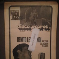 Revistas de música: DISCO EXPRES 2 (22-12-68):B.LERTXUNDI, MICK JAGGER,B.RYAN,BEE GEES,JOHN MAYALL,LENNON,CREAM,BRINCOS,. Lote 123324779