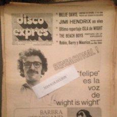 Revistas de música: DISCO EXPRES 88 (20-9-70):B.STREISSAND,J,HENDRIX.BILLIE DAVIS,BRINCOS.BEE GEES,BEACH BOYS,KEROUACS,. Lote 123337383