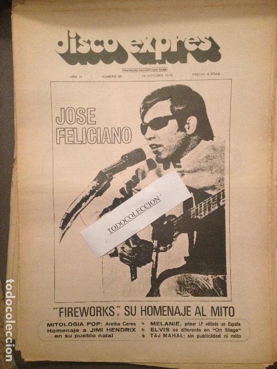 DISCO EXPRES 92 (18-10-70):J.FELICIANO,HENDRIX,TAJ MAHAL,ELVIS,MAYALL,JUNIOR,AGUA DE REGALIZ,BRAVOS (Música - Revistas, Manuales y Cursos)