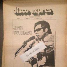 Revistas de música: DISCO EXPRES 92 (18-10-70):J.FELICIANO,HENDRIX,TAJ MAHAL,ELVIS,MAYALL,JUNIOR,AGUA DE REGALIZ,BRAVOS. Lote 123337747