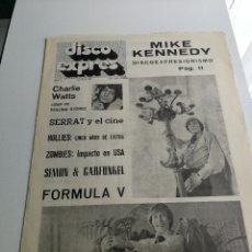Revistas de música - REVISTA ' DISCO EXPRES ' Nº 20 - ABRIL 1969 //PORTADA ' MIKE KENNEDY Y FORMULA V ' - 124288483