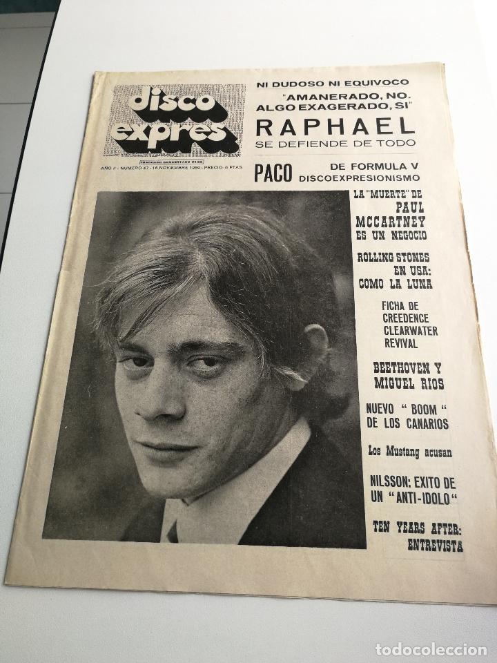 REVISTA ' DISCO EXPRES ' Nº 47 - NOVIEMBRE 1969 //PORTADA ' PACO DE FORMULA V ' (Música - Revistas, Manuales y Cursos)
