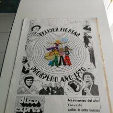 Revistas de música: REVISTA ' DISCO EXPRES ' Nº 51 - DICIEMBRE 1969 //PORTADA ' FELICES FIESTAS, PROSPERO AÑO 1970 '. Lote 124293759