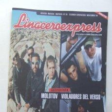 Revistas de música: LINACERO EXPRESS 26 MOLOTOV VIOLADORES DEL VERSO HEROES DEL SILENCIO M-CLAN . Lote 124514579