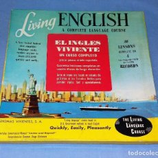 Revistas de música: CURSO DE INGLES LIVING ENGLISH COMPLETE LANGUAGE COURSE CAJA CON 4 LP'S Y LIBRO EN EXCELENTE ESTADO. Lote 126485475