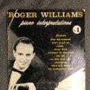 Revistas de música: PIANO INTERPRETATIONS NO.1 ROGER WILLIAMS (A.1956). Lote 126603706
