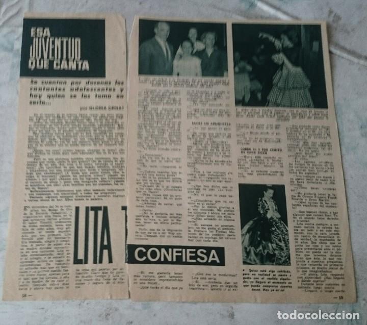 LITA TORELLÓ SE CONFIESA. ENTREVISTA PARA ESA JUVENTUD QUE CANTA. 2 PÁGINAS (GARBO 1961) (Música - Revistas, Manuales y Cursos)