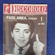 Revistas de música: REVISTA DISCOBOLO NUM 18 DIC 62 AÑO I PAUL ANKA M. DIETRICH, TOKENS, SONOR, BOBBY DARIN. Lote 191025253