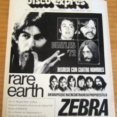 Revistas de música: DISCO EXPRES - BEATLES'72 - NÚMERO 156 - AÑO 1972 . Lote 153249722