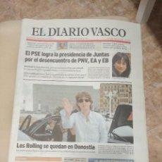 Revistas de música: DIARIO VASCO 2007 LOS ROLLING STONES SE QUEDAN EN DONOSTIA SAN SEBASTIAN. Lote 156006146