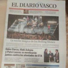 Revistas de música: DIARIO VASCO 2007LA NOCHE MAGICA DE LOS ROLLING STONES DONOSTIA SAN SEBASTIAN. Lote 156006278