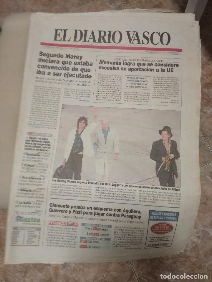 DIARIO VASCO 1998 LOS ROLLING STONES LLEGAN A DONOSTIA SIN MICK JAGGER (Música - Revistas, Manuales y Cursos)