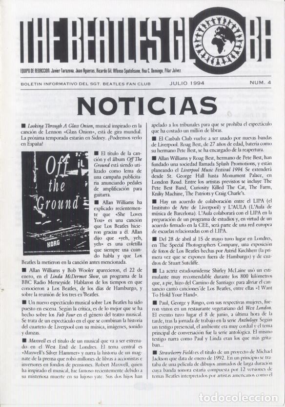 Revistas de música: Boletínes Informativos Nº 2, 3, 4, 5, 6, 7, 8, 9 Sergeant Beatles Fan Club Zaragoza 1994 y 1995 - Foto 3 - 157003006
