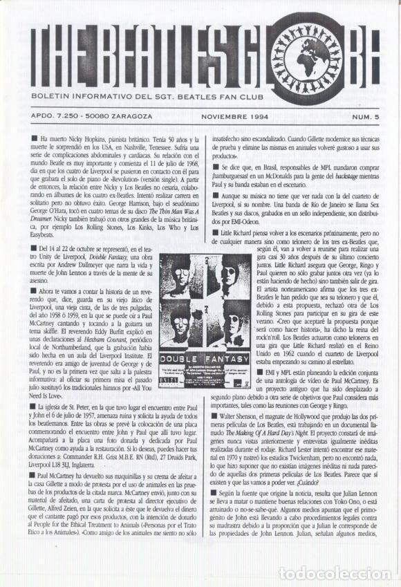 Revistas de música: Boletínes Informativos Nº 2, 3, 4, 5, 6, 7, 8, 9 Sergeant Beatles Fan Club Zaragoza 1994 y 1995 - Foto 4 - 157003006