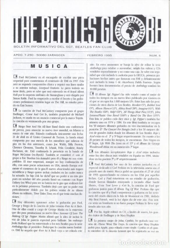 Revistas de música: Boletínes Informativos Nº 2, 3, 4, 5, 6, 7, 8, 9 Sergeant Beatles Fan Club Zaragoza 1994 y 1995 - Foto 5 - 157003006