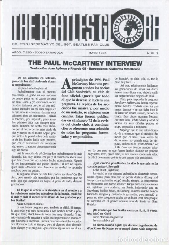 Revistas de música: Boletínes Informativos Nº 2, 3, 4, 5, 6, 7, 8, 9 Sergeant Beatles Fan Club Zaragoza 1994 y 1995 - Foto 6 - 157003006