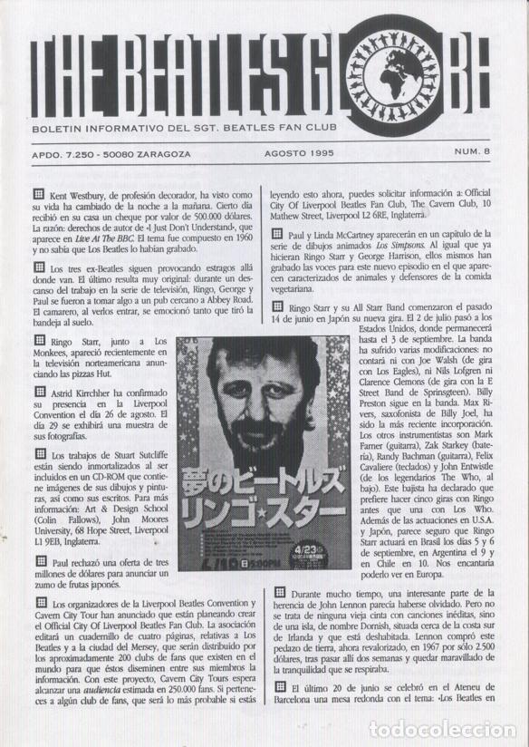 Revistas de música: Boletínes Informativos Nº 2, 3, 4, 5, 6, 7, 8, 9 Sergeant Beatles Fan Club Zaragoza 1994 y 1995 - Foto 7 - 157003006