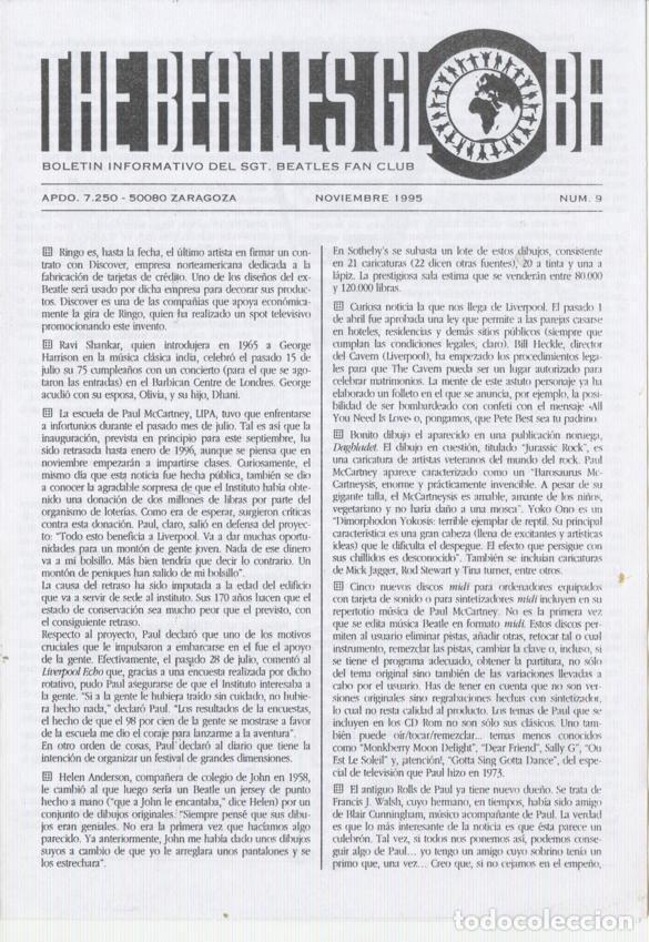 Revistas de música: Boletínes Informativos Nº 2, 3, 4, 5, 6, 7, 8, 9 Sergeant Beatles Fan Club Zaragoza 1994 y 1995 - Foto 8 - 157003006
