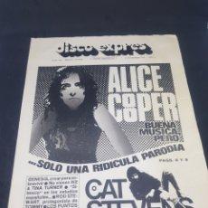 Revistas de música: REVISTA MUSICAL DISCO EXPRES 198 ALICE COOPER CAT STEVENS. Lote 159505132