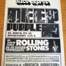 Revistas de música: DISCO EXPRES - PURPLE. ROLLING STONES - NUM. 208 - AÑO 1973 - PERFECTO ESTADO. Lote 166039830