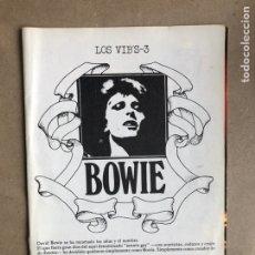 Revistas de música: DAVID BOWIE. LOS VIB'S-3. CON PSOTER. 12 PÁGINAS.. Lote 170225400