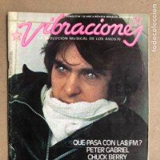 Revistas de música: VIBRACIONES N° 33 (1977). FALTAN VIBS Y POSTERS. PETER GABRIEL, LOU REED, BOB SEGER, SUBIRACHS. Lote 170230078
