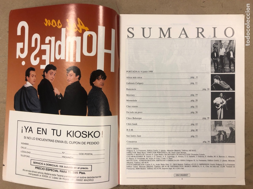 Revistas de música: DISCO MARKET N° 4 (1988). GABINETE CALIGARI, MORRISEY, VENENO, RAMONCIN, CHRIS ISAAK, R.E.M.,... - Foto 2 - 175151217