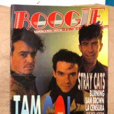 Revistas de música: BOOGIE N° 15 (MAYO '89). STRAY CATS, BURNING, MANOLO TENA, TAM TAM GO!, REPORTAJE CENSURA,... Lote 175282993