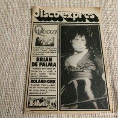 Revistas de música: DISCO EXPRES Nº 461 QUEEN BRIAN DE PALMA, ROLAND KIRK, ENERO 1978. Lote 133162234