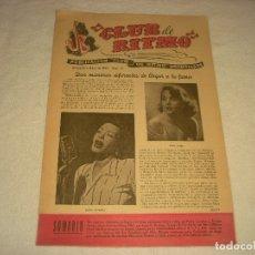 Revistas de música: CLUB DE RITMO N. 73 . MAYO DE 1952 . EN PORTADA BILLIE HOLIDAY Y ABBE LANE.. Lote 177377502