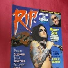 Revistas de música: REVISTA RIP. Nº 9. 1991. COMPLETA. CON SUPER POSTER VINCE NEIL. Lote 178913945