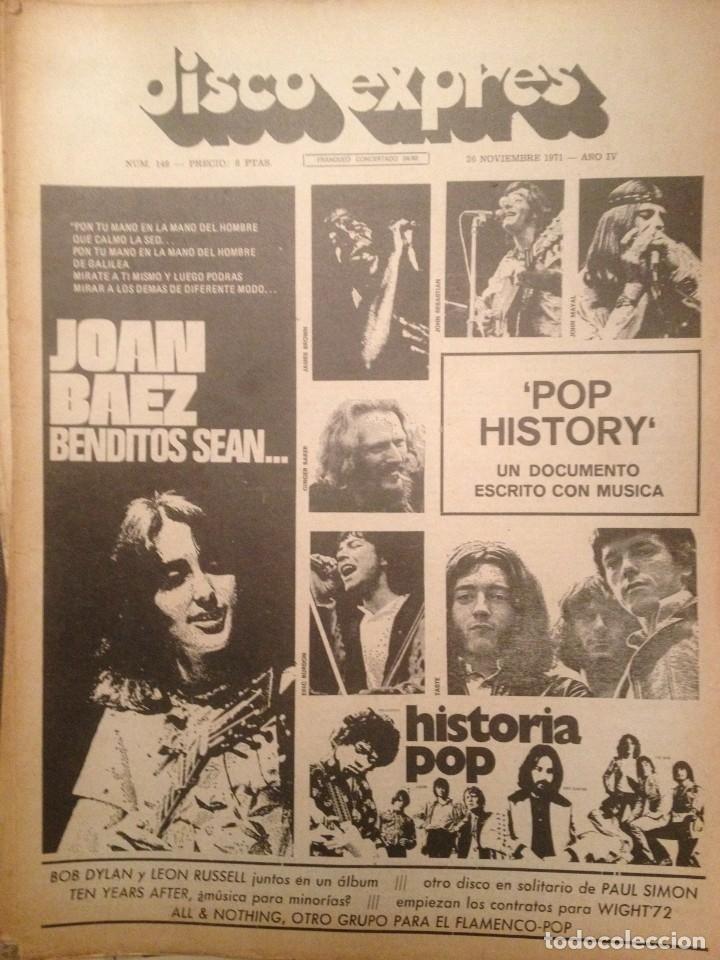 DISCO EXPRES 149: JOAN BAEZ, POP HISTORY, ALL & NOTHING, TAPIMAN,CREAM,TEN YEARS AFTER,DYLAN (Música - Revistas, Manuales y Cursos)