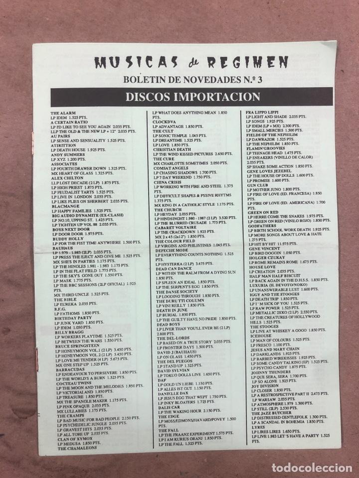 MÚSICAS DE RÉGIMEN N° 3 (MANRESA 1987). HISTÓRICO FANZINE ORIGINAL; CATÁLOGO DISCOS PARA PEDIR (Música - Revistas, Manuales y Cursos)