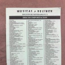 Revistas de música: MÚSICAS DE RÉGIMEN N° 3 (MANRESA 1987). HISTÓRICO FANZINE ORIGINAL; CATÁLOGO DISCOS PARA PEDIR. Lote 183090817